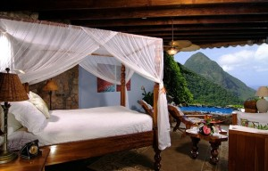 Shots of the Caribbean five star Ladera Resort in St. Lucia