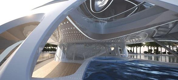 Futuristic ship interior