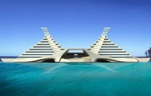 Accommodation in a luxurious floating pyramid