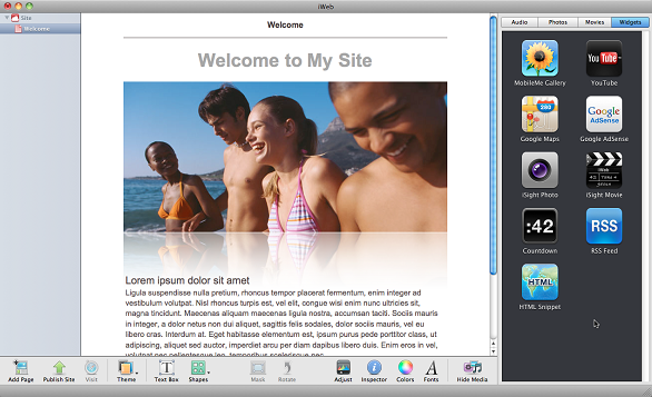 An example of the Apple iWeb
