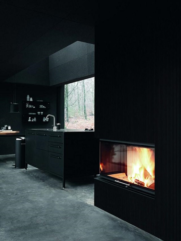 Fireplace and kitchen